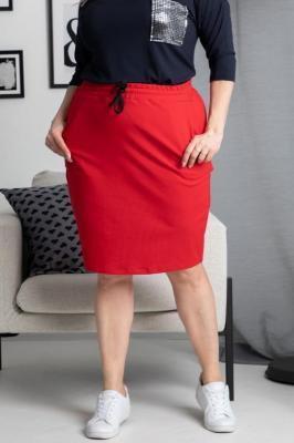 Spódnica na co dzień dresowa z kieszonkami ALASKA czerwona
