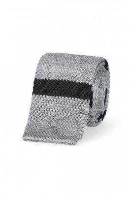 Krawat Szary w Paski Dzianinowy