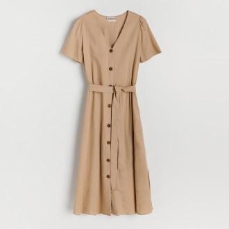 Reserved - Sukienka z wiskozy i lnu - Beżowy