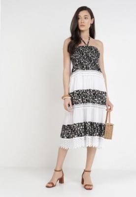 Czarno-Biała Sukienka Sabishia