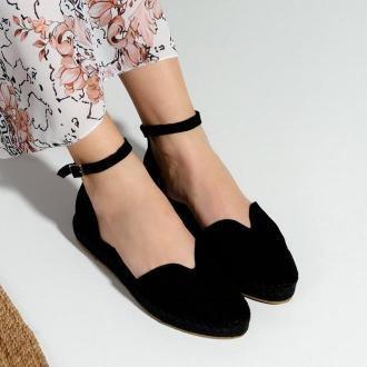 Czarne damskie sandały a'la espadryle na platformie Monata  - Obuwie