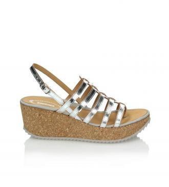 Srebrne sandały damskie : Rozmiar - 40