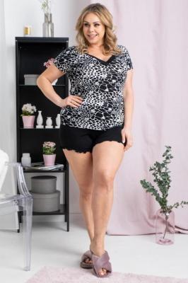 Komplet piżamka OMEGA PRINT bluzka czarne cętki na białym tle+ spodenki czarne