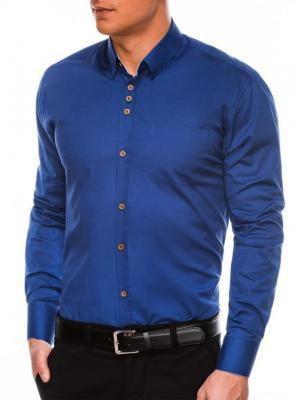 Koszula męska elegancka z długim rękawem K302 - jasnogranatowa - S