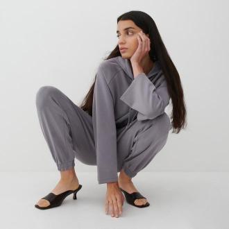 Reserved - Dzianinowa bluza z kapturem - Jasny szary
