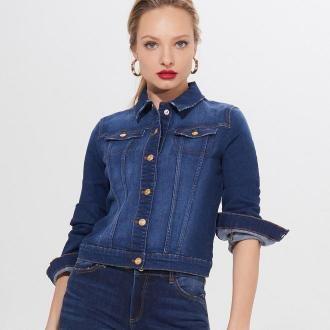 Mohito - Krótka jeansowa kurtka - Niebieski
