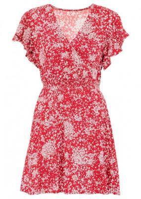 Sukienka z falbanami, LENZING™ ECOVERO™ bonprix czerwony sygnałowy w kwiaty