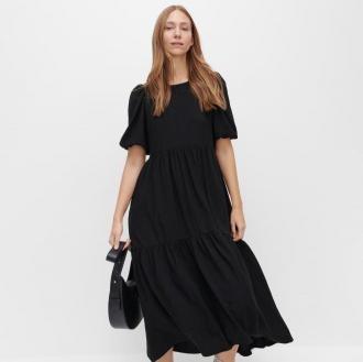 Reserved - Dzianinowa sukienka maxi - Czarny