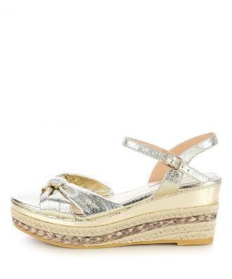 Platynowe sandały na koturnie BIANCHI