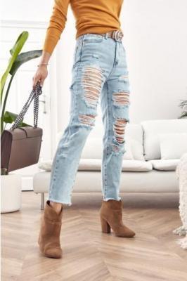 Spodnie jeansowe z wysokim stanem Boyfriend 02700