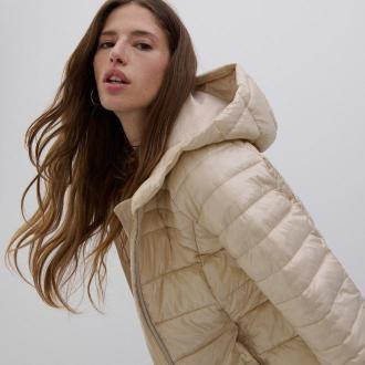 Reserved - Pikowana kurtka z kapturem - Beżowy