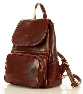 MARCO MAZZINI Elegancki plecak z kieszenią skóra naturalna tuscan vegetable leather brązowy
