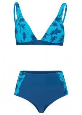 Bikini bustier (2 części) bonprix ciemnoniebiesko-turkusowy z nadrukiem