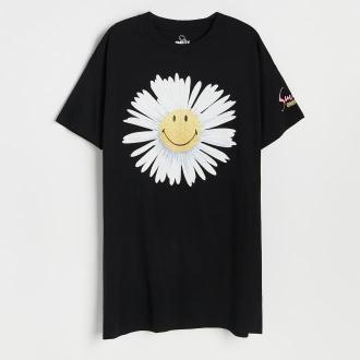 Reserved - Bawełniana koszula nocna Smiley® - Czarny