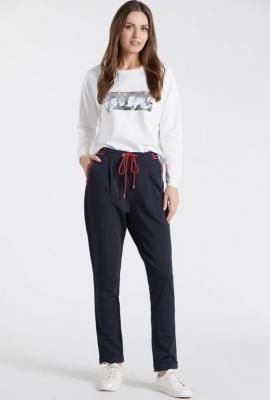 Gładkie spodnie z wiązaniem w pasie