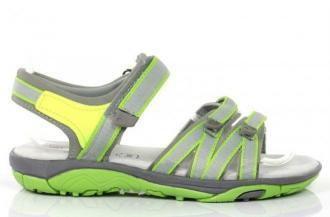 Szare damskie sportowe sandały z neonowym wykończeniem Quiq - Obuwie