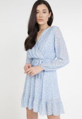 Niebiesko-Kremowa Sukienka Theanyphe