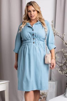 Sukienka ołówkowa marszczona w talii PEONIA błękitna