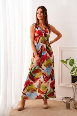 Letnia sukienka maxi w kolorowe wzory czerwona 85334