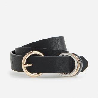 Reserved - Pasek z okrągłą klamrą - Czarny