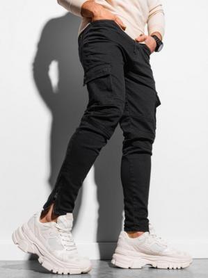 Spodnie męskie joggery bojówki P924 - czarne - XXL