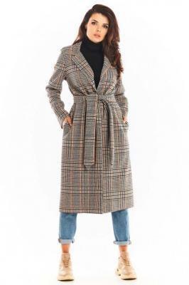 Płaszcz w Kratę Wiązany Paskiem - Granatowy