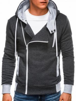 Bluza męska rozpinana z kapturem B297 - grafitowa - XXL