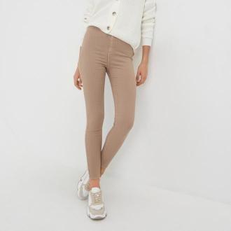 Sinsay - Spodnie jeansowe skinny - Beżowy