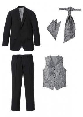 Garnitur 5-częściowy (marynarka, spodnie, kamizelka, plastron i chusteczka do butonierki) bonprix czarny