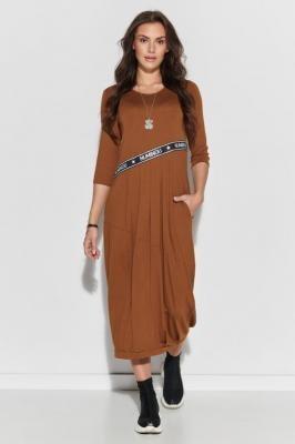 Luźna Sukienka Dzianinowa z Logowaną Taśmą - Kamelowa