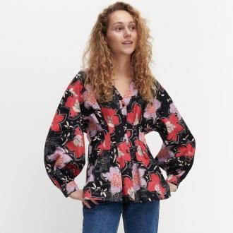 Reserved - Bawełniana koszula w kwiaty - Wielobarwny