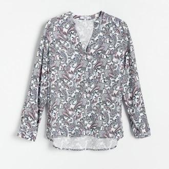Reserved - Wzorzysta bluzka z EcoVero™ - Kremowy