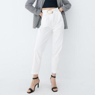 Mohito - Spodnie paperbag - Biały