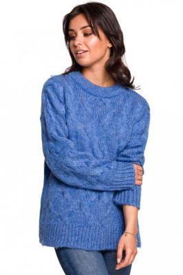 Niebieska Ciepły Sweter z Półgolfem w Warkocze