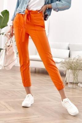 Bawełniane spodnie Joggery w kant pomarańczowe 01200