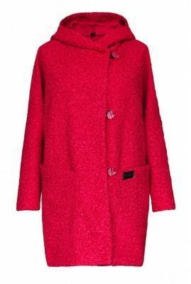 """Różowy płaszcz oversize z kapturem - tiffany """"melanż"""" 2xl (50-52)"""