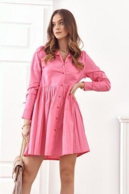 Koszulowa sukienka z plisowanym dołem różowa 17330