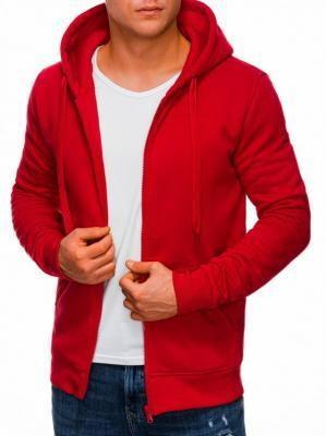 Bluza męska rozpinana z kapturem 895B - czerwona - XXL