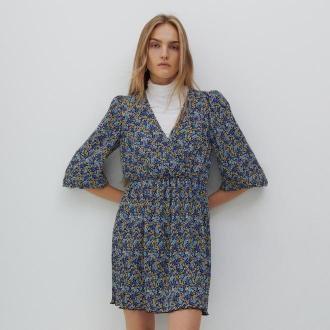 Reserved - Wzorzysta sukienka mini - Czarny