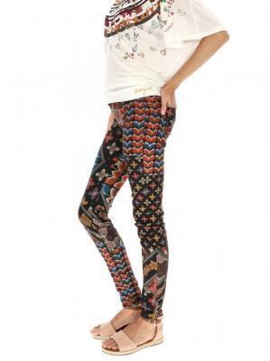 Wzorzyste kolorowe spodnie Desigual HOLLY
