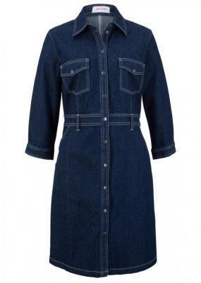 Sukienka dżinsowa ze stretchem, rękawy 3/4 bonprix ciemnoniebieski