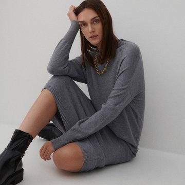 Reserved - Dzianinowa sukienka - Szary