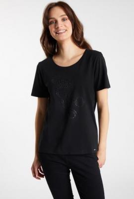T-shirt z napisem i dżetami