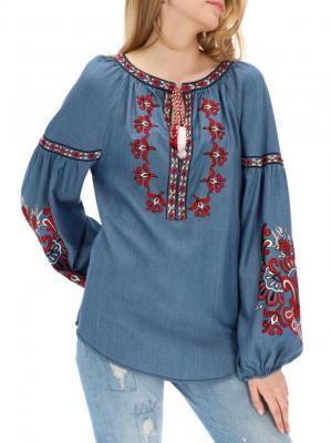 Niebieska bluzka z haftem Desigual MARTETA