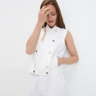 Mohito - Jeansowa kamizelka - Biały