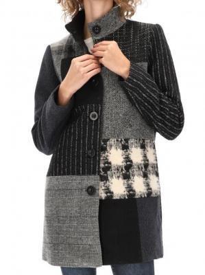 Płaszcz ze stójką z łączonych tkanin Desigual ROSITA