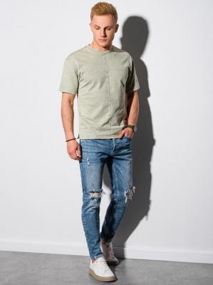 T-shirt męski bawełniany S1379 - oliwkowy - XXL