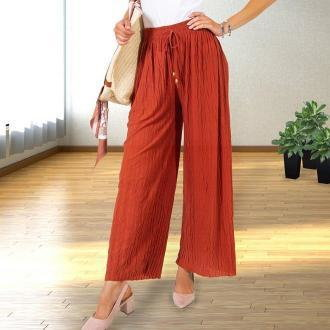 Luźne czerwone dzianinowe spodnie palazzo - Odzież