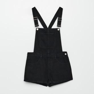 Cropp - Jeansowe ogrodniczki - Czarny