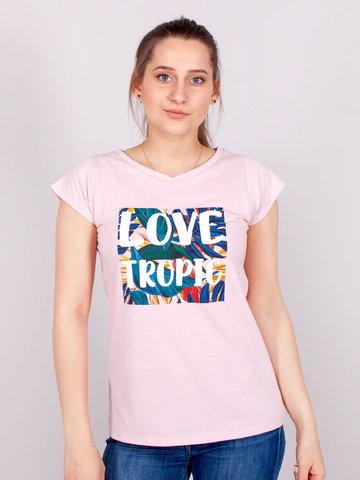 Podkoszulka t-shirt bawełniany damski róż tropic  S